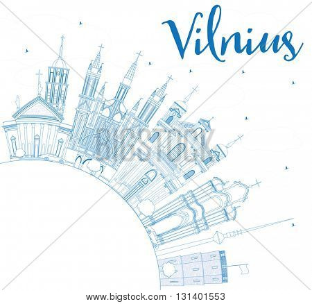 Outline Vilnius Skyline with Blue Landmarks and Copy Space. Business Travel and Tourism Concept with Historic Buildings. Image for Presentation Banner Placard and Web Site.