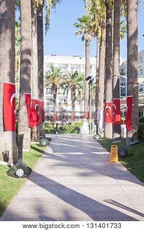 Walk on site with the flags of Turkey on the palms.