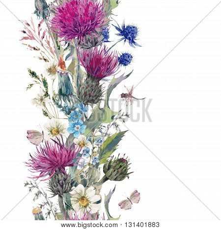 Vintage vertical herbal seamless border with Blooming Meadow Flowers-Thistles, Dandelions, Meadow Herbs, Chamomile and Dragonfly. Botanical Floral Vector Vintage Isolated Illustration on White