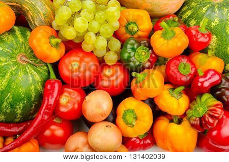 Collection fruit and vegetables background