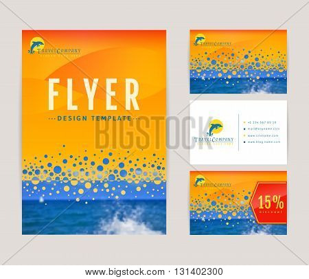 Set of corporate identity templates with dolphin logo. Travel and sea cruise themes. Flyer discount card and business card with front and back views. Colorful branding design. Vector collection.