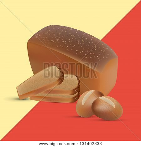 Set of rye and wheat sliced bread and crusty buns
