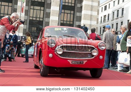 BRESCIA, ITALY - MAY 18: FIAT 1100 VIGNALE Couple 1952 built on Mille Miglia,the famous race for retro cars, May 18,2016 in Brescia,Italy