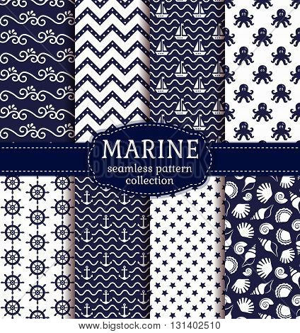 Set of marine and nautical backgrounds in navy blue and white colors. Sea theme. Seamless patterns collection. Vector illustration.