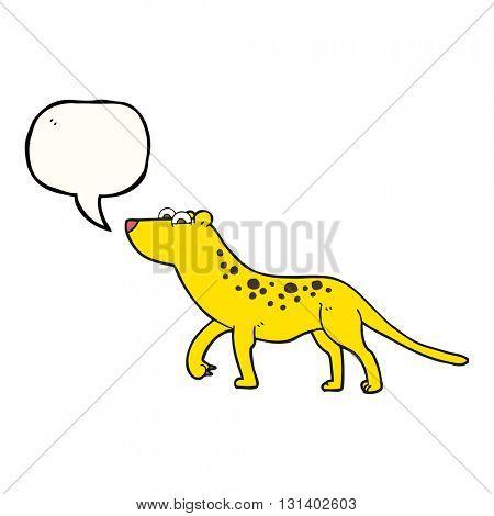 freehand drawn speech bubble cartoon leopard