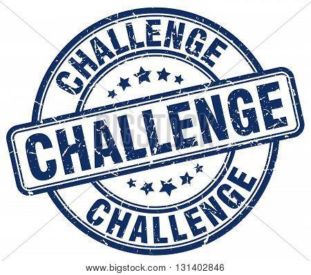 challenge blue grunge round vintage rubber stamp.