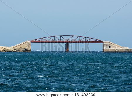 New Harbour Bridge in Valletta, Malta, fragment photo