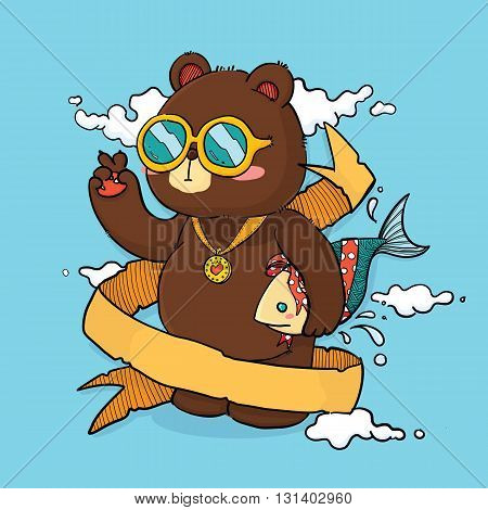 Vector Illustration of Cute Bear Holding Fish as Gift Cartoon Character with Ribbon for Place Text. For Greeting Card