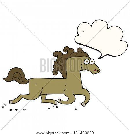 freehand drawn speech bubble cartoon running horse