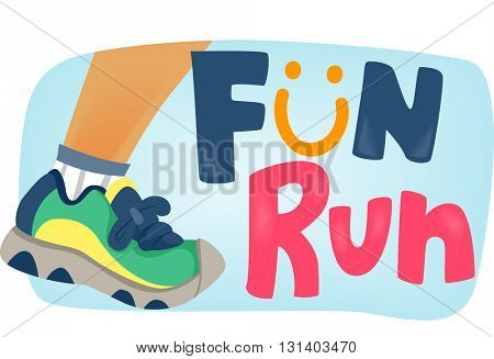 Typography Illustration Featuring a Runner with the Word Fun Run Beside It