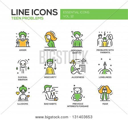 Set of modern vector line design icons and pictograms of teenager problems. Anger, depression, personal identity, problems with parents, insecurity, aloofness, loneliness, illusions, bad habits, fear