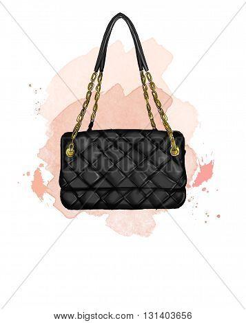 Fashion Illustration with quilt black leather handbag