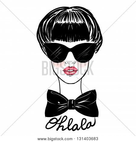 fashion illustration - sketch illustration of girl wearing sunglasses