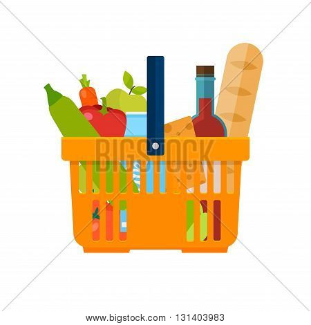 Shopping Basket With Foods. Healthy Organic Fresh And Natural Food. Grocery Delivery Concept. Flat V
