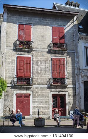 Typical Building Of Basque Country In Saint Jean De Luz.