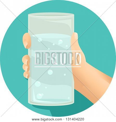 Illustration of a Kid Holding a Glass of Water