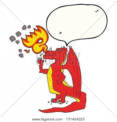 freehand drawn speech bubble cartoon happy dragon breathing fire