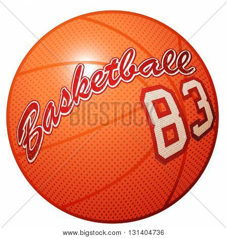 Orange 3D basketball sports equipment with Basketball print .