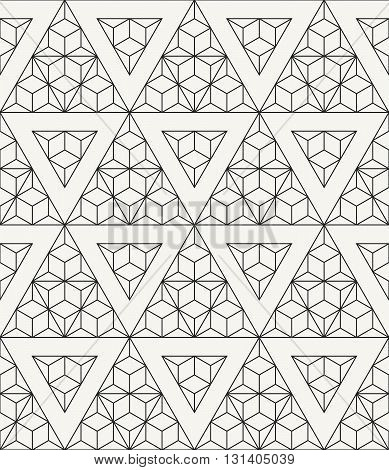 Vector seamless pattern. Modern stylish outlined geometric texture with structure of repeating triangles and hexagons.