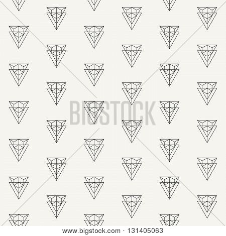Vector seamless pattern. Modern stylish outlined fabric geometric texture with structure of repeating double triangles and hexagon inside of them.