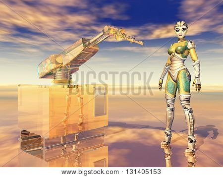 Computer generated 3D illustration with robotic arm and female robot