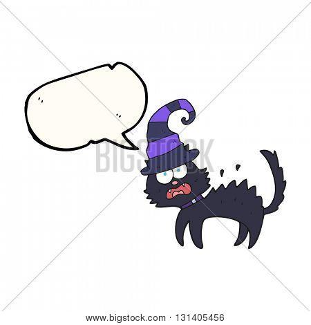 freehand drawn speech bubble cartoon scared black cat