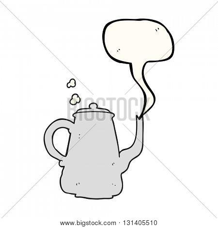 freehand drawn speech bubble cartoon steaming  coffee pot
