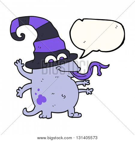 freehand drawn speech bubble cartoon halloween alien