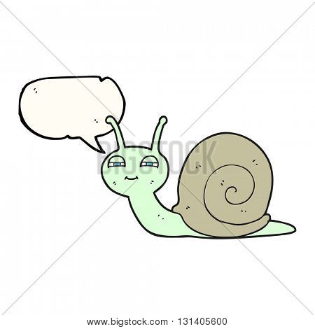 freehand drawn speech bubble cartoon cute snail