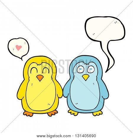 freehand drawn speech bubble cartoon birds holding hands