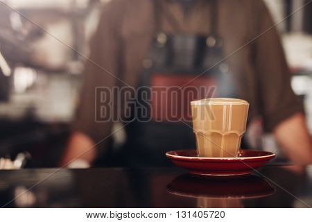 Coffee Cup With Saucer On Cafe Counter