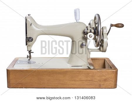 Beautiful Antique  Sewing Machine Isolated on White