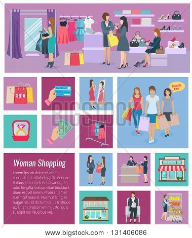 Set of color icons different size with elements of woman shopping vector illustration