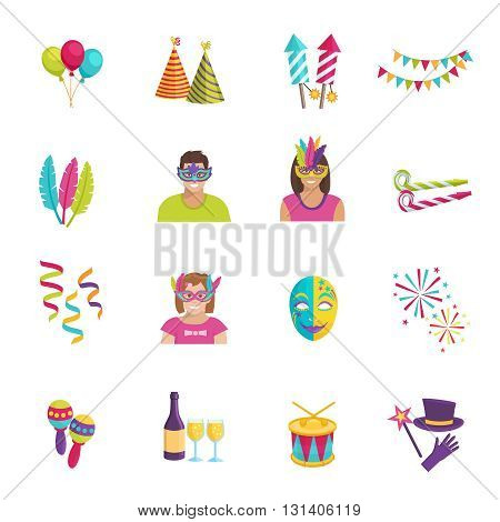 Set ot color flat icons depicting carnival elements balloon mask firework vector illustration