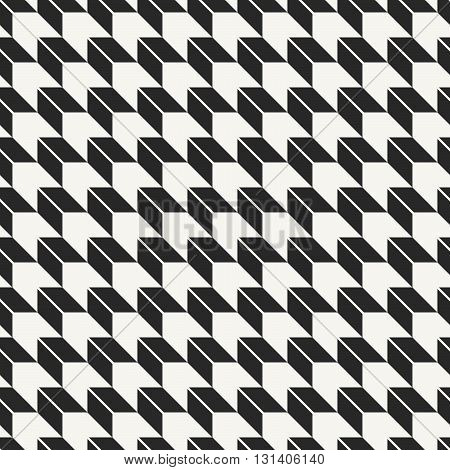 Vector seamless pattern. Modern stylish monochrome geometric fabric texture with optical illusion effect.