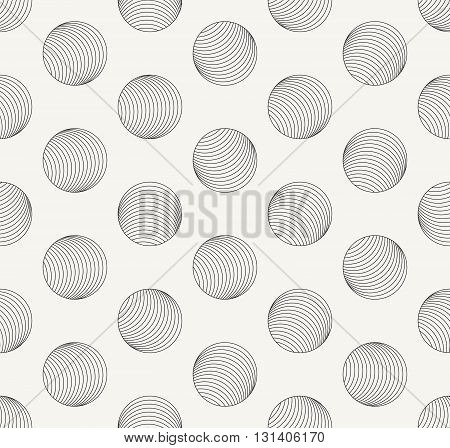 Vector seamless pattern. Modern stylish outlined geometric background with irregular structure of repeating spheres look like tiny holes.