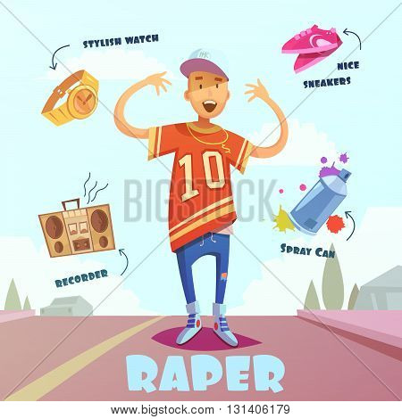 Raper character pack with trendy elements and accessories for man on road flat vector illustration