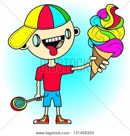 Vector illustration. Little boy with tongue sticking out is holding a colorful ice cream in one hand and a lollipop in another hand.