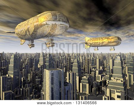 Computer generated 3D illustration with two fantasy airships over a megacity