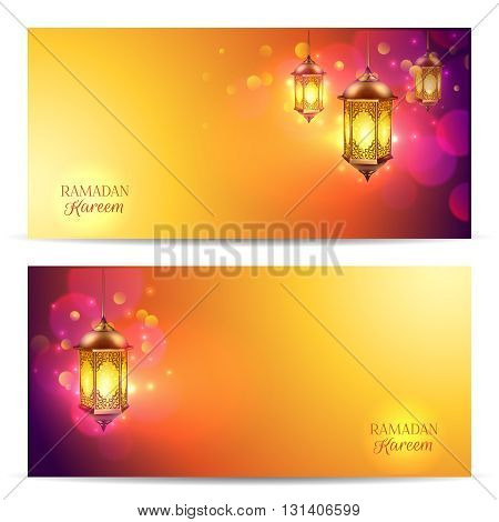 Two horizontal Ramadan banner set with flash light on beautiful colorful abstract background vector illustration