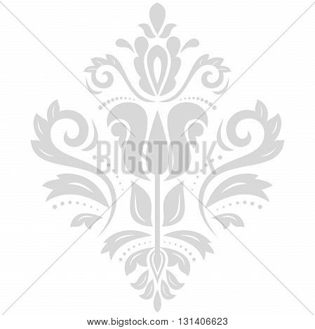 Damask light silver pattern with traditional elements. Abstract oriental ornament