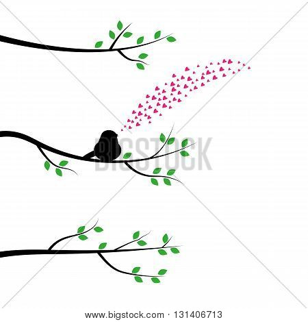 The bird on a tree branch and sings about love