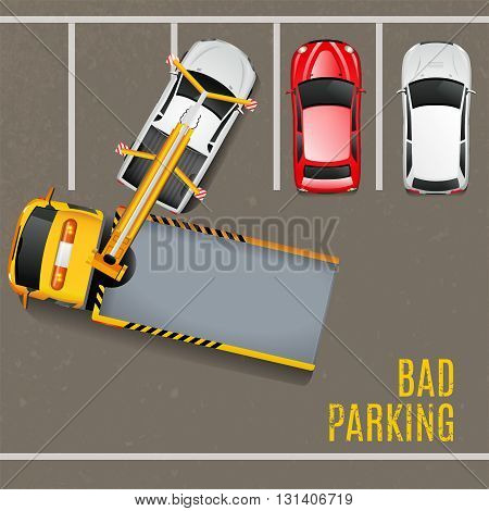 Bad Parking Top View Background. Tow Truck Vector Illustration. Bad Parking Cartoon Design. Tow Truck Working Decorative Symbols.