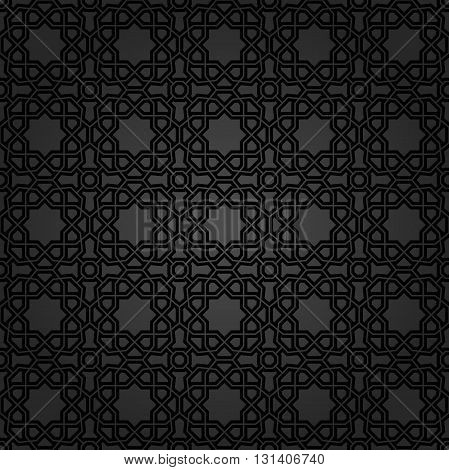 Geometric dark ornament with black elements. Seamless pattern for wallpapers and backgrounds