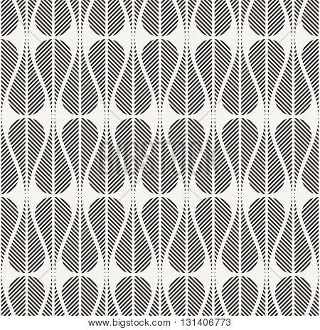 Vector seamless pattern. Modern stylish decorative background with structure of repeating teardrops with diagonal striped texture.