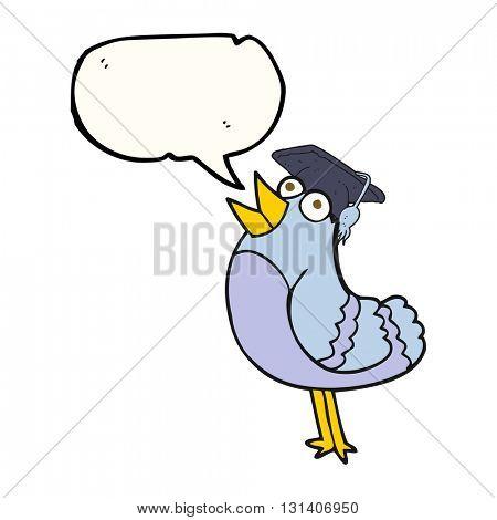 freehand drawn speech bubble cartoon bird wearing graduation cap