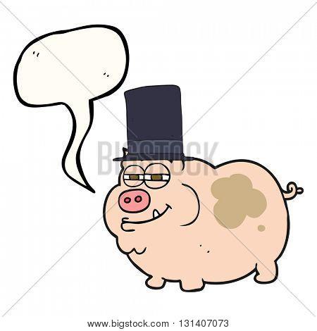 freehand drawn speech bubble cartoon rich pig