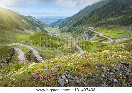 Driving on winding asphalt road through mountain area at beautiful summer morning. Famous Tranfagarasan road Romania.