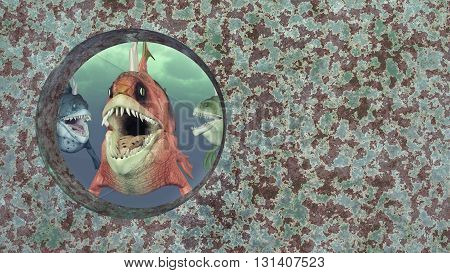 Computer generated 3D illustration with monstrous fish and rusty iron wall of a shipwreck