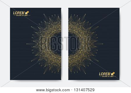 Modern vector template for brochure, Leaflet, flyer, cover, magazine or annual report. A4 size. Business, science, medicine and technology design book layout. Abstract presentation with round molecule